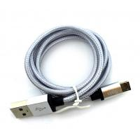 Дата кабель NYLON metal conector 2 in 1 micro USB + iPhone Silver (тех. упаковка)