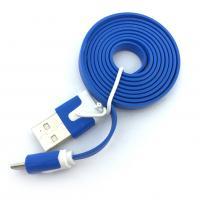 Дата кабель FLAT micro USB 1m Blue (тех. упаковка)