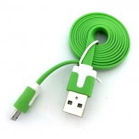 Дата кабель FLAT micro USB 1m Green (тех. упаковка)