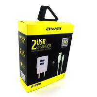 Сетевое ЗУ AWEI C-900 + cable micro USB Black (5V/2.1A/2USB)